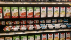 photo of campbell soup in grocery store