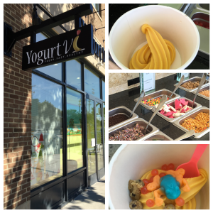 Collage of Yogurt Vi shop and cup of frozen yogurt with toppings