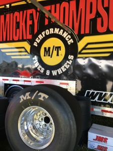 Photo of Mickey Thompson tire in front of its sales trailer