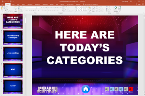 Photo of screenshot of PowerPoint for Jeopardy game