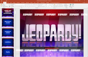 Screenshot of Jeopardy in PowerPoint